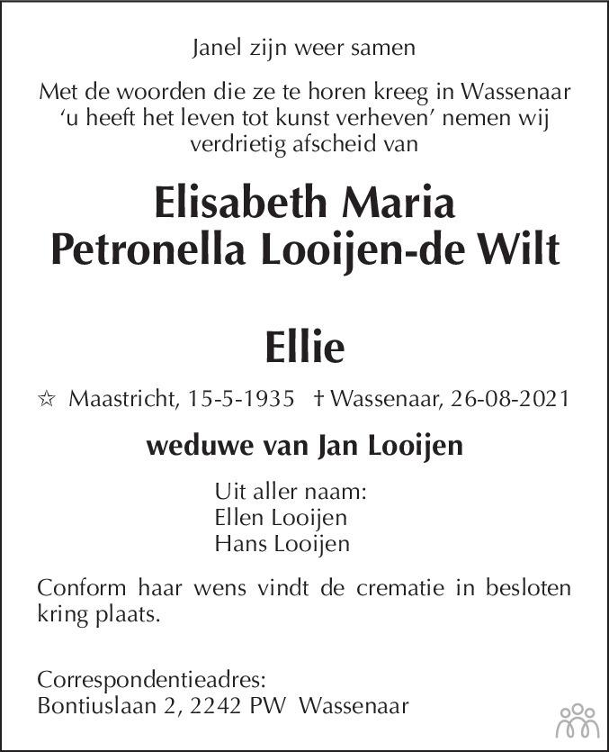 Overlijdensbericht van Elisabeth Maria Petronella (Ellie) Looijen-de Wilt in De Limburger