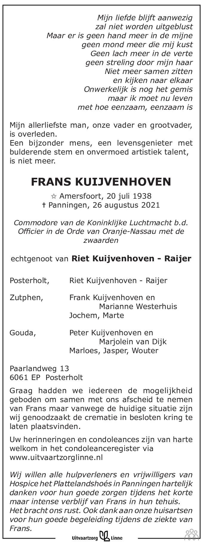 Overlijdensbericht van Frans Kuijvenhoven in De Limburger