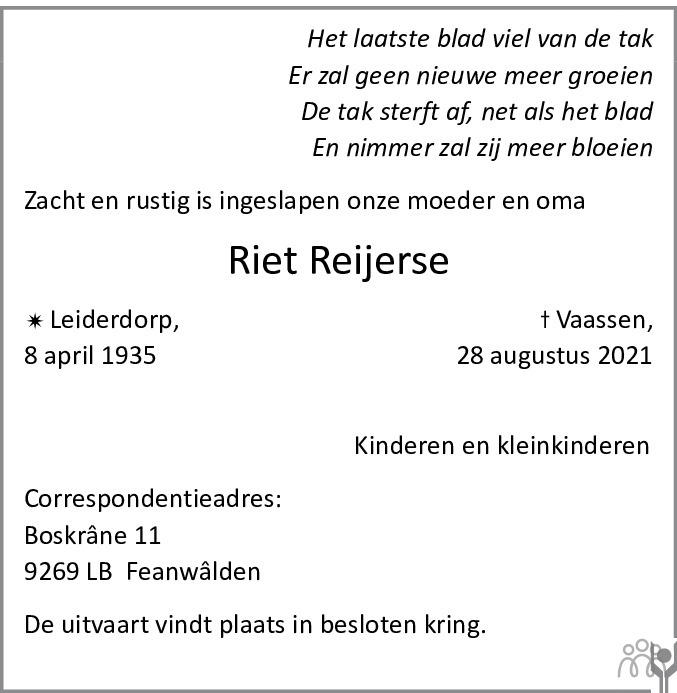 Overlijdensbericht van Riet Reijerse in De Limburger