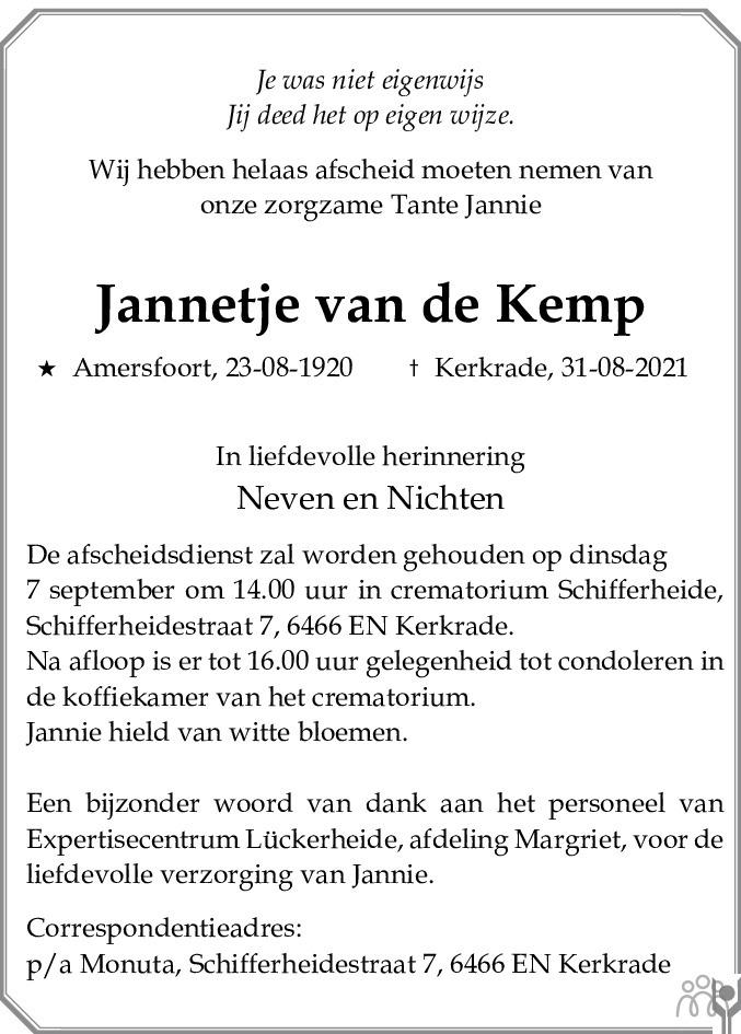 Overlijdensbericht van Jannetje van de Kemp in De Limburger