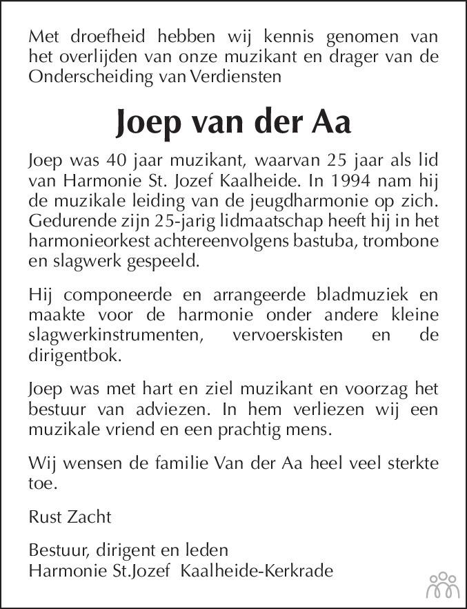 Overlijdensbericht van Joep van der Aa in De Limburger
