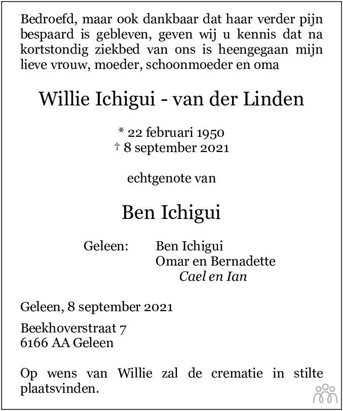 Overlijdensbericht van Willie Ichigui-van der Linden in De Limburger