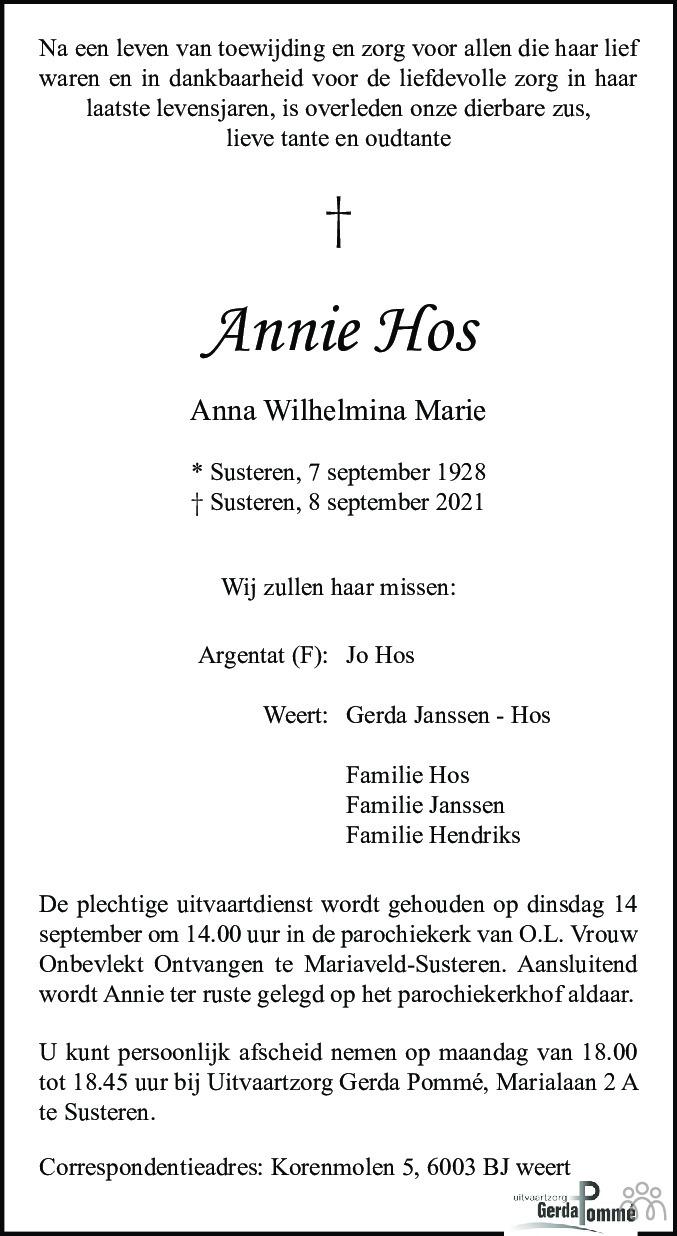 Overlijdensbericht van Annie (Anna Wilhelmina Marie) Hos in De Limburger