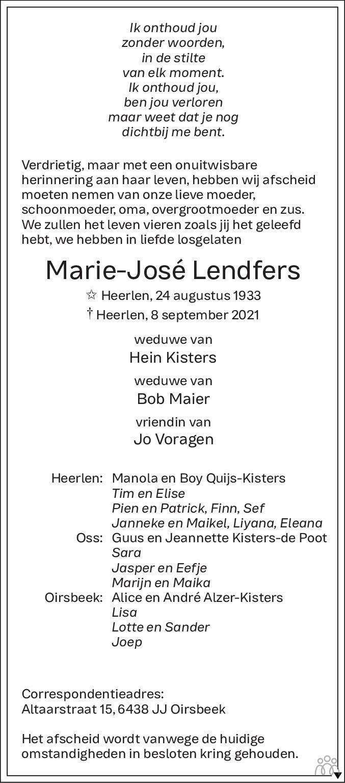 Overlijdensbericht van Marie-José Kisters-Lendfers in De Limburger