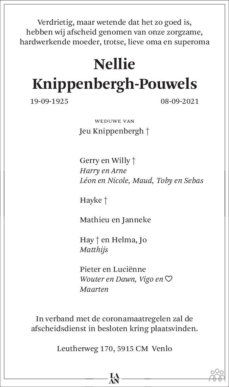 Overlijdensbericht van Nellie Knippenbergh-Pouwels in De Limburger