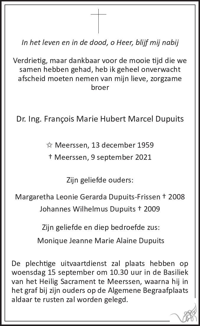Overlijdensbericht van Francois Marie Hubert Marcel Dupuits in De Limburger