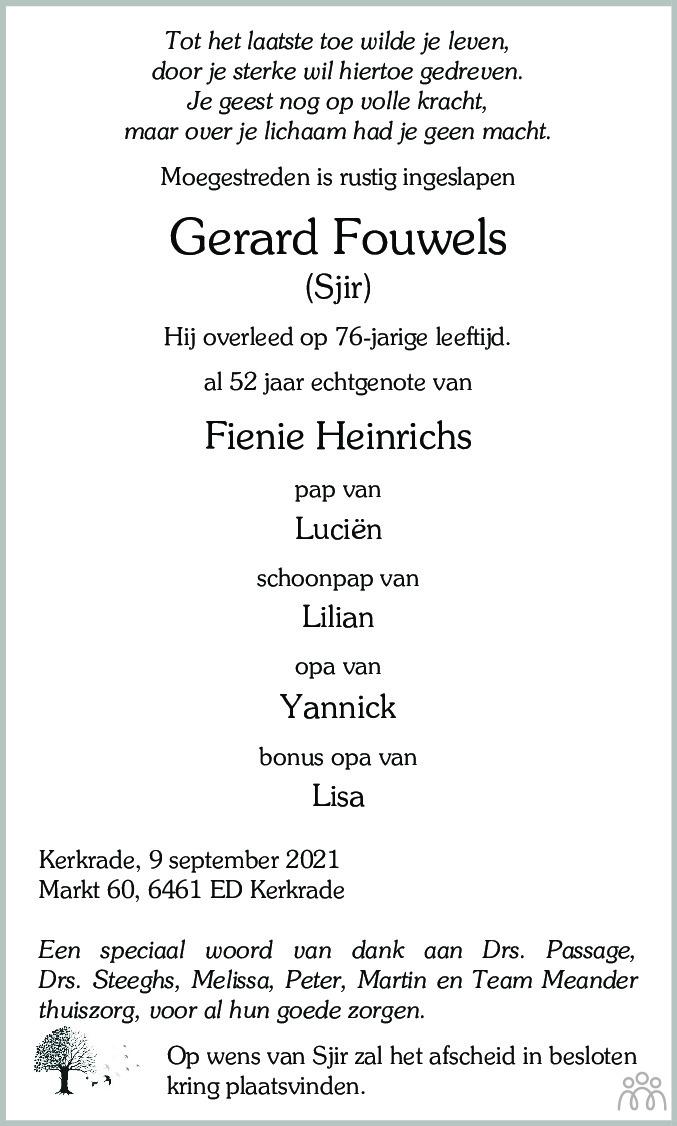 Overlijdensbericht van Gerard (Sjir) Fouwels in De Limburger