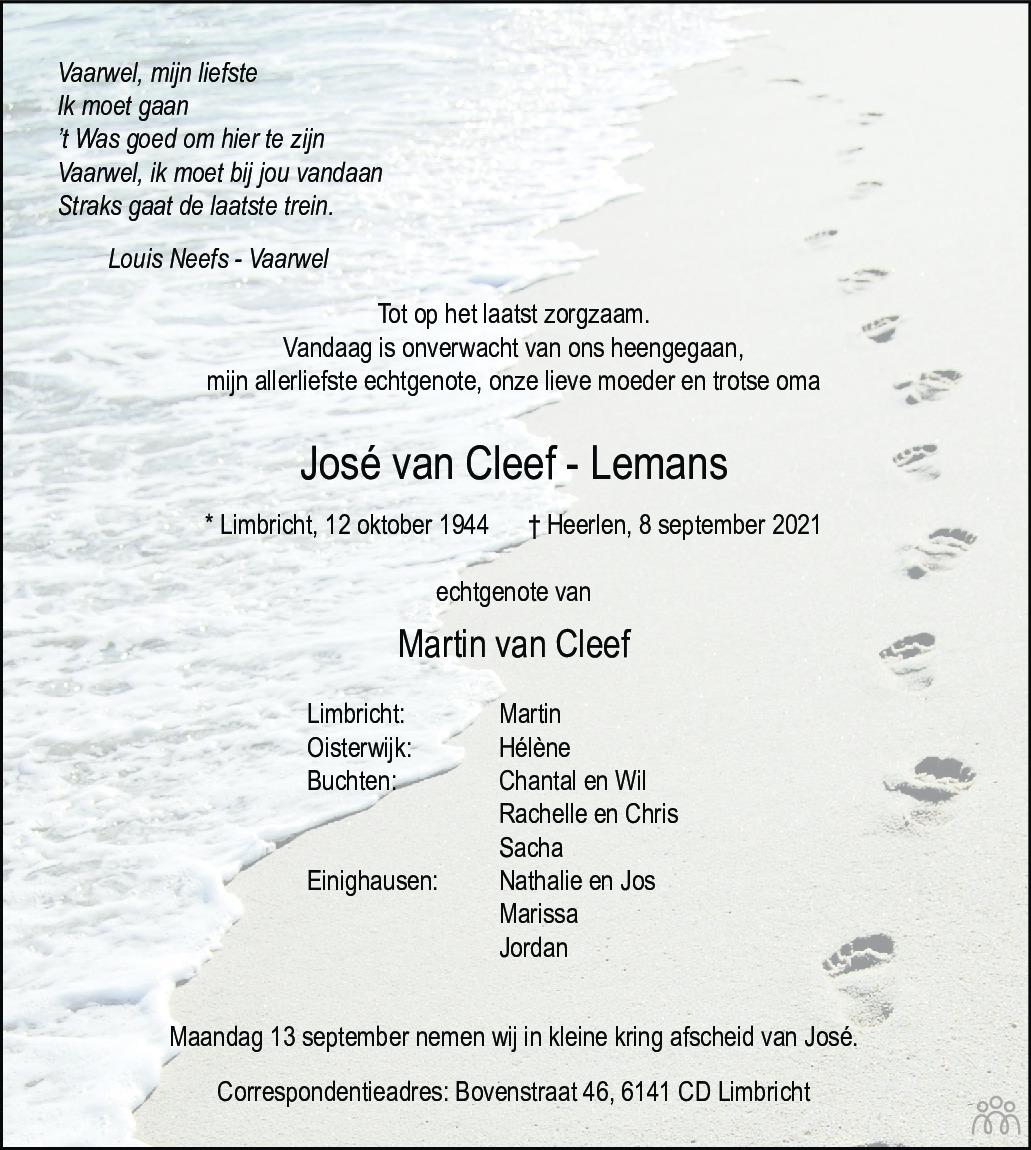 Overlijdensbericht van José van Cleef-Lemans in De Limburger