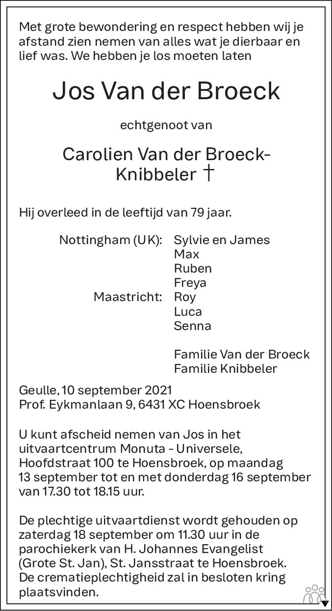 Overlijdensbericht van Jos van der Broeck in De Limburger