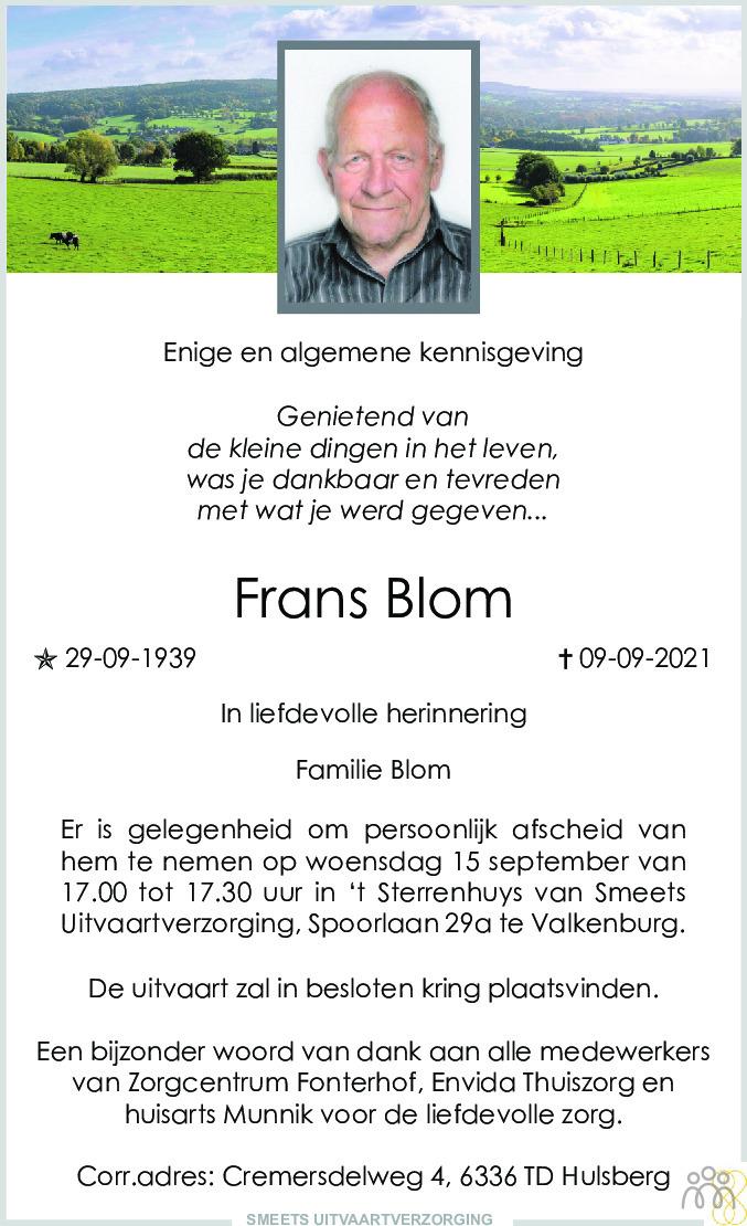 Overlijdensbericht van Frans Blom in De Limburger