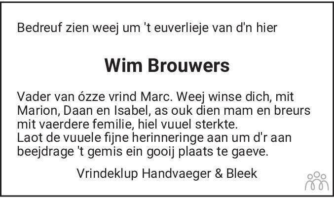 Overlijdensbericht van Wim Brouwers in De Limburger