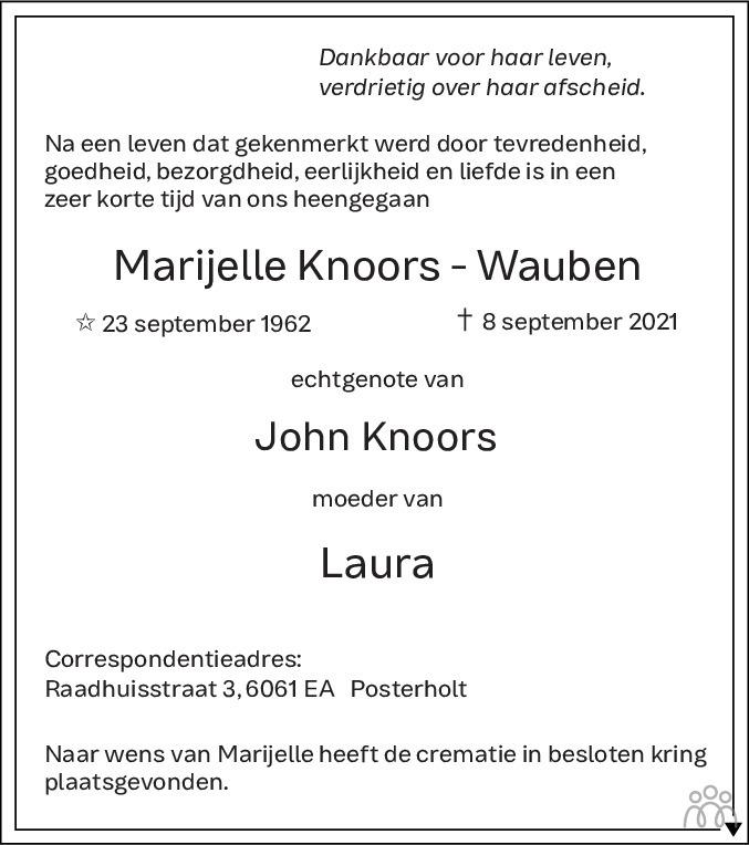 Overlijdensbericht van Marijelle Knoors-Wauben in De Limburger