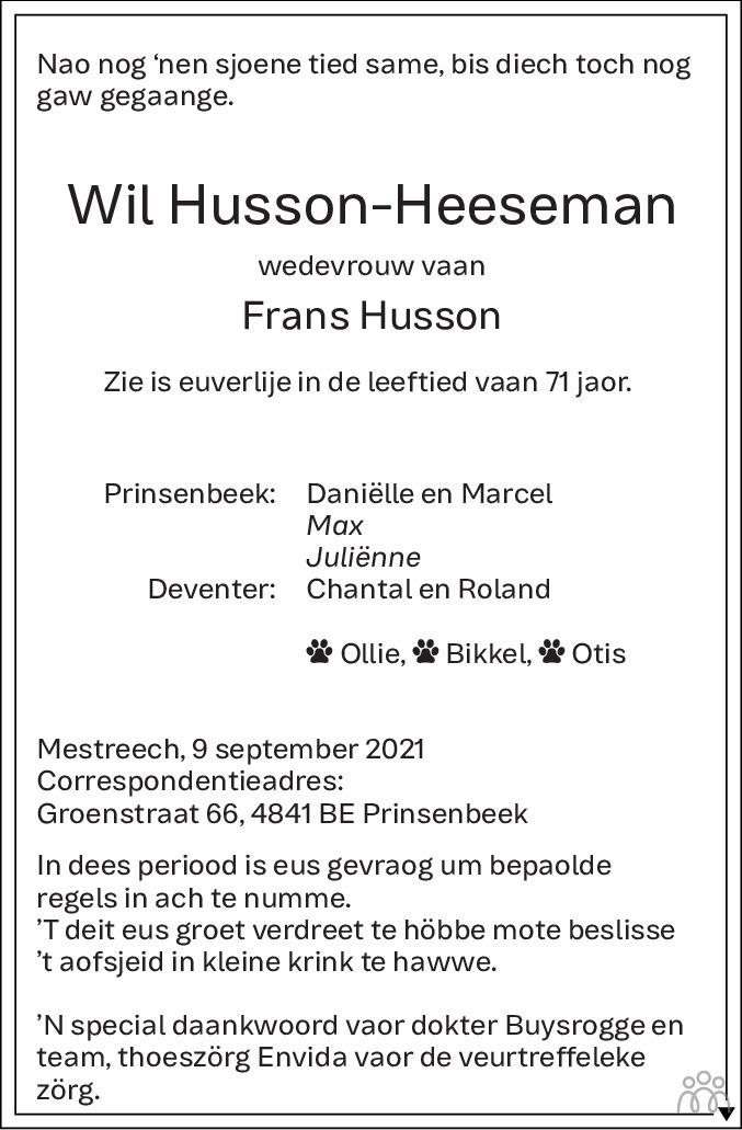 Overlijdensbericht van Wil Husson-Heeseman in De Limburger
