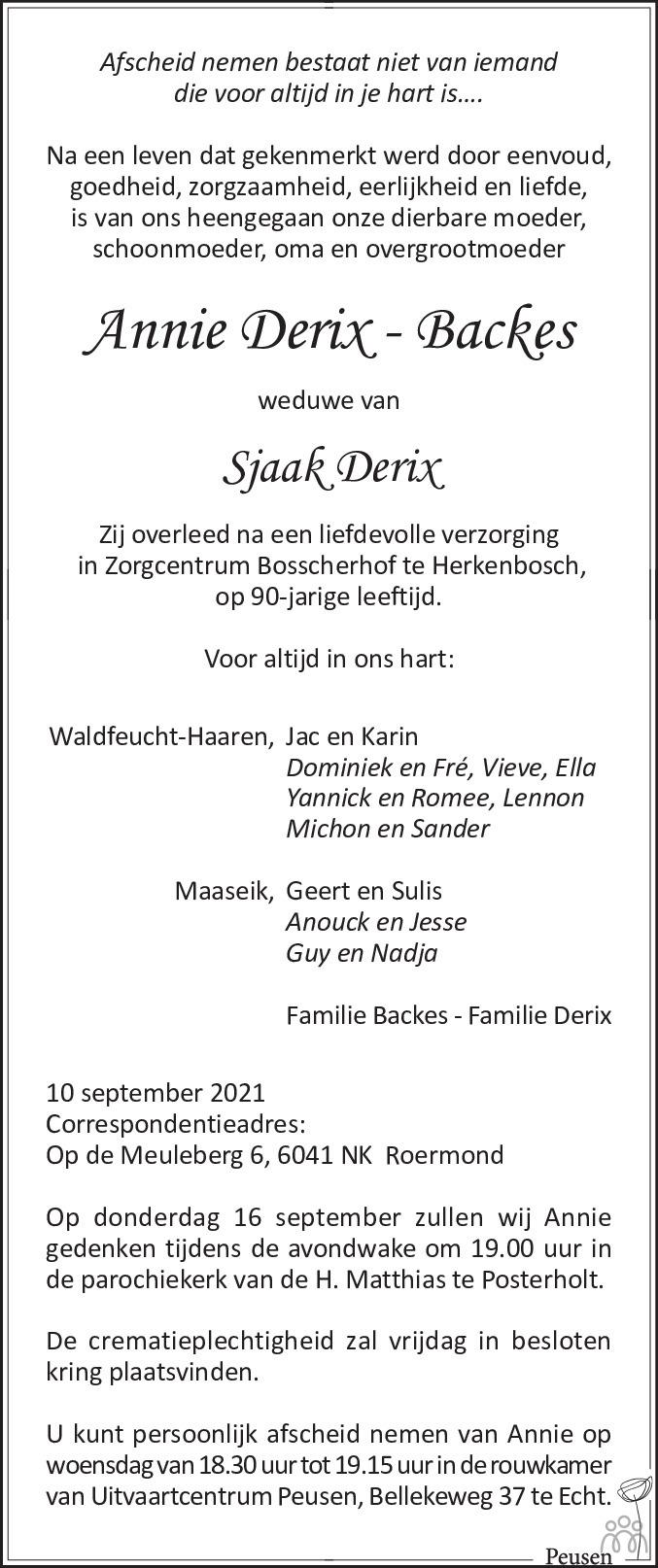 Overlijdensbericht van Annie Derix-Backes in De Limburger