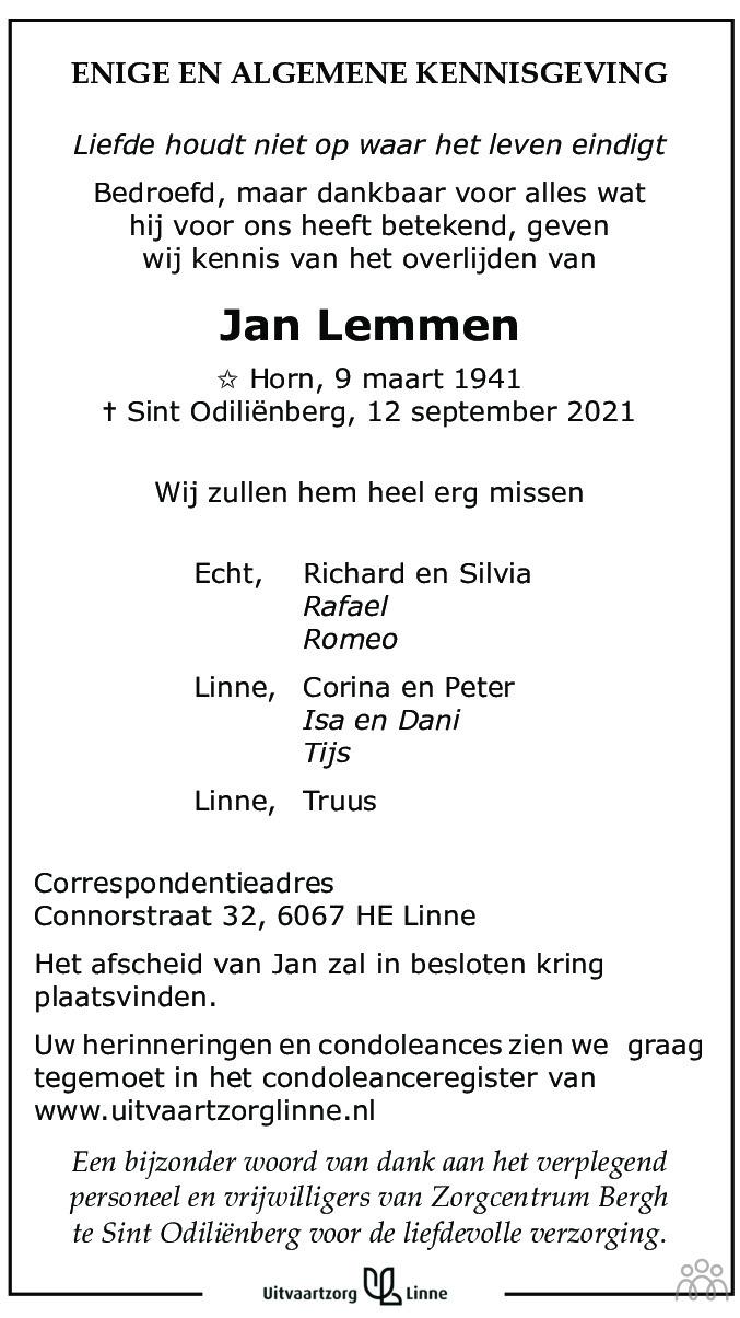 Overlijdensbericht van Jan Lemmen in De Limburger