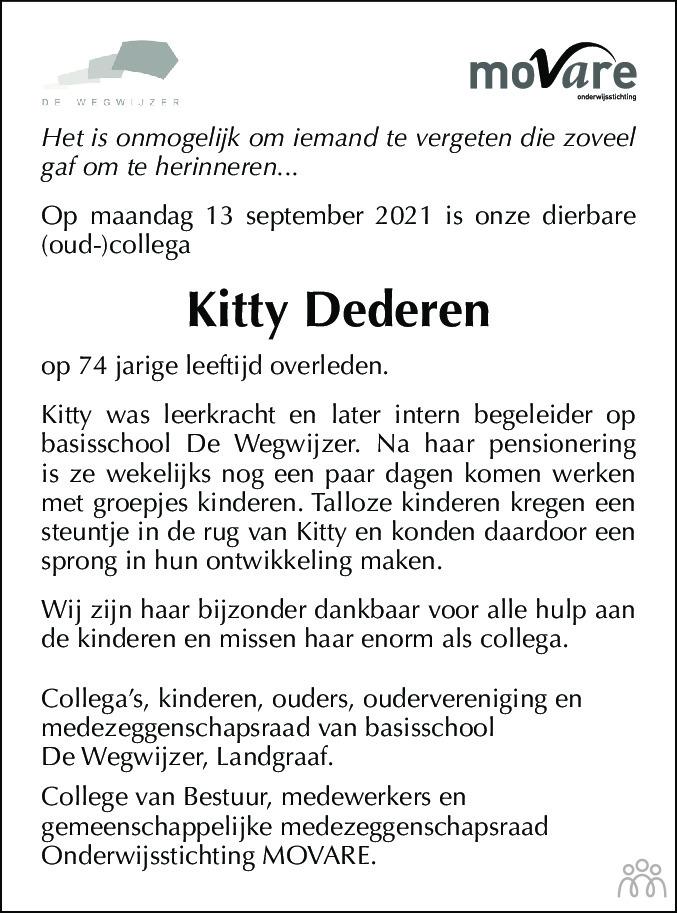 Overlijdensbericht van Kitty Dederen-Schurgers in De Limburger