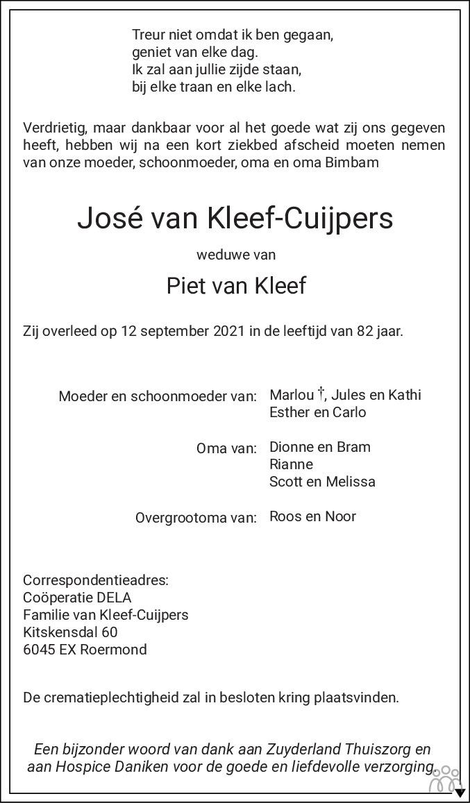 Overlijdensbericht van Jose van Kleef-Cuijpers in De Limburger