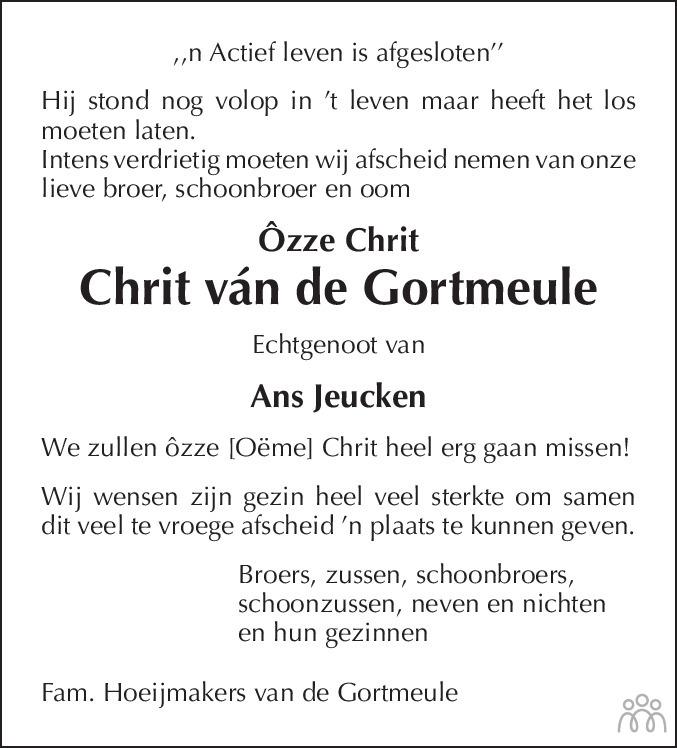 Overlijdensbericht van Chrit Hoeijmakers in De Limburger