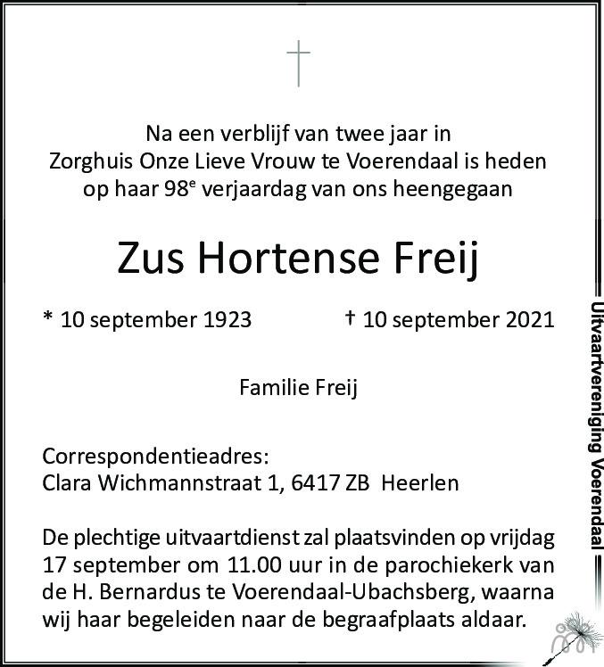 Overlijdensbericht van Zus Hortense Freij in De Limburger