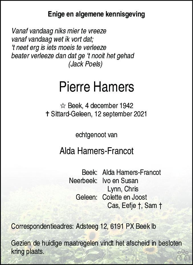 Overlijdensbericht van Pierre Hamers in De Limburger