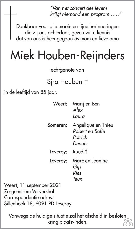 Overlijdensbericht van Miek Houben-Reijnders in De Limburger