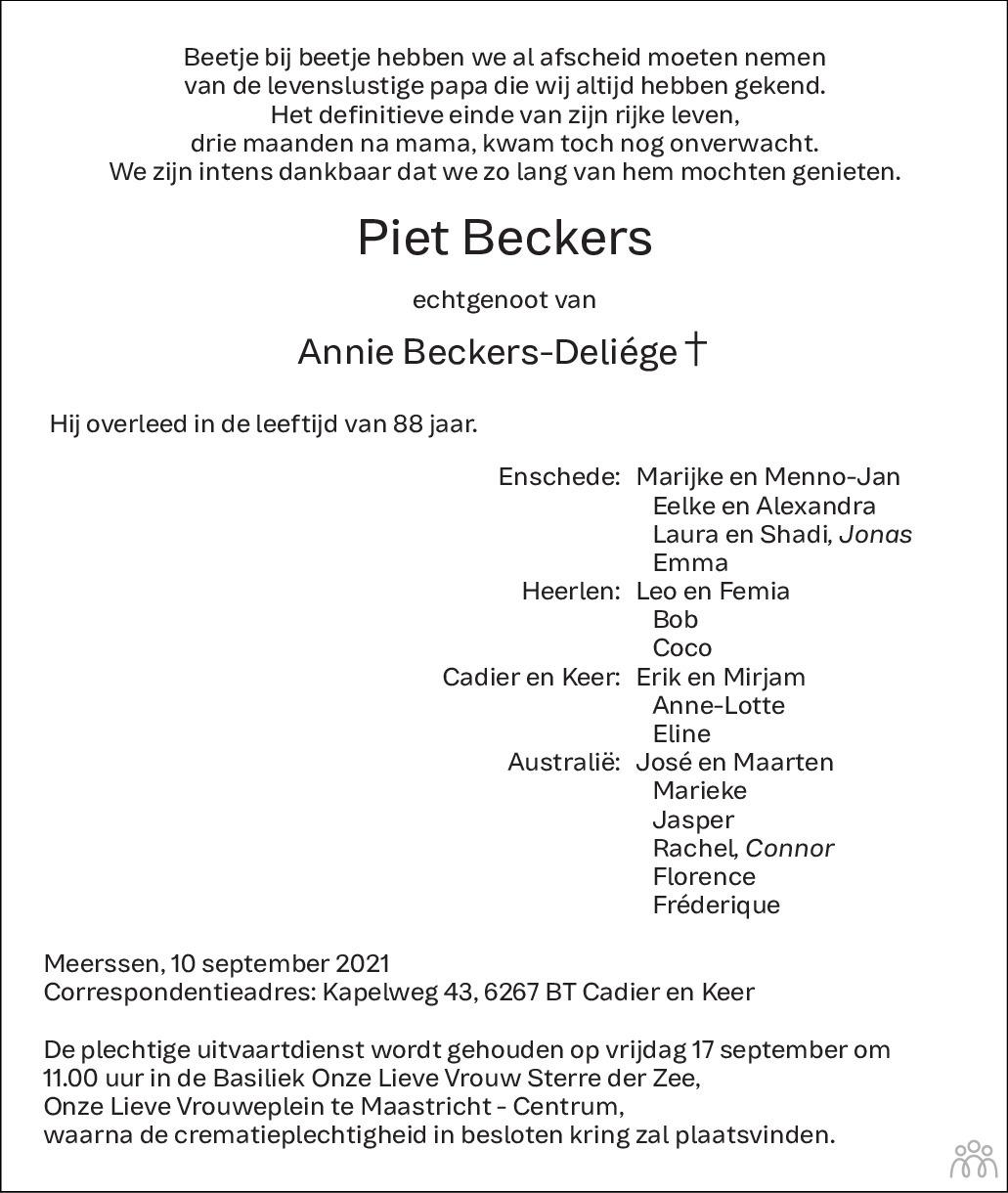 Overlijdensbericht van Piet Beckers in De Limburger
