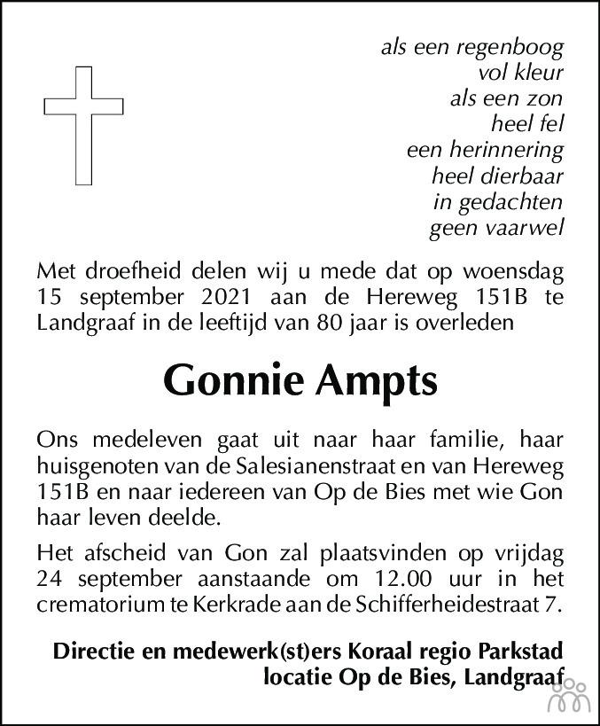 Overlijdensbericht van Gonnie Ampts in De Limburger