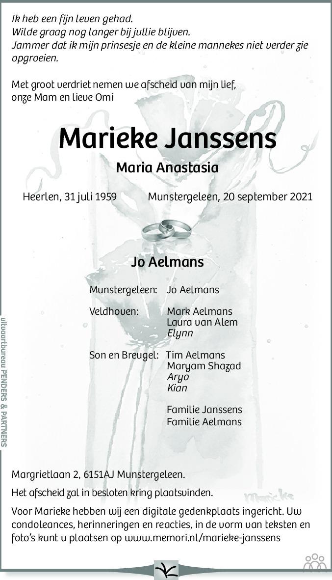 Overlijdensbericht van Marieke (Maria Anastasia) Aelmans-Janssens in De Limburger