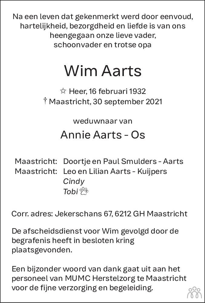 Overlijdensbericht van Wim Aarts in De Limburger