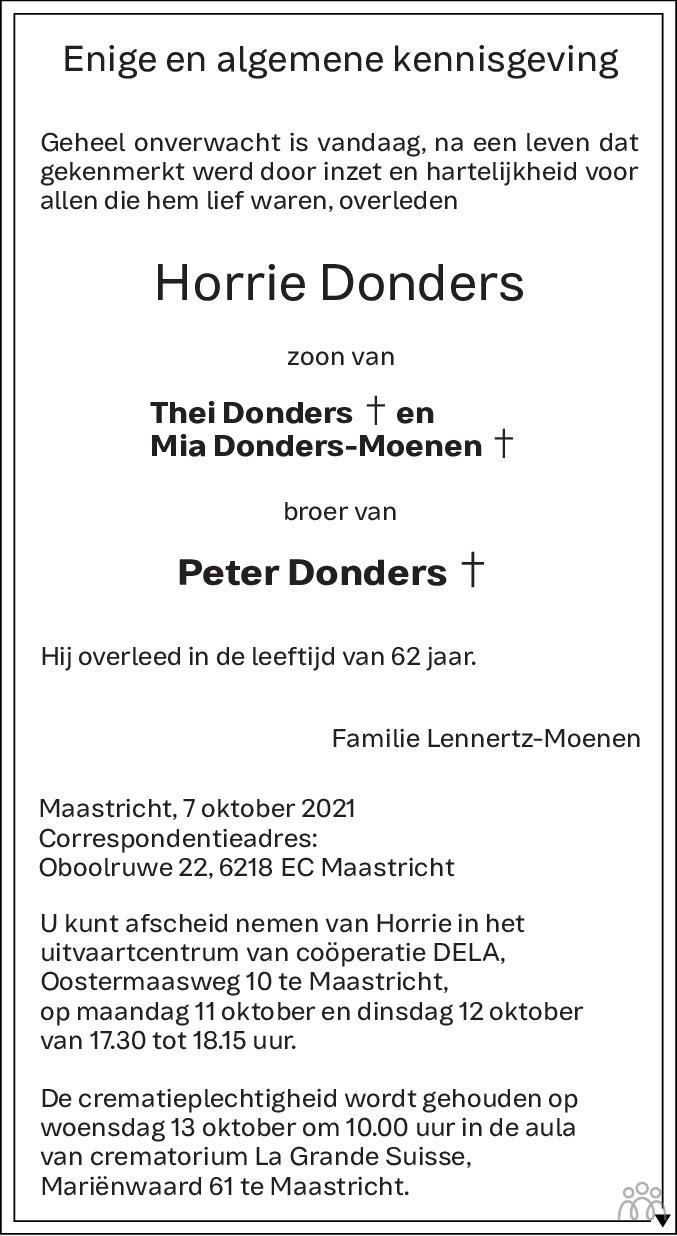 Overlijdensbericht van Horrie Donders in De Limburger