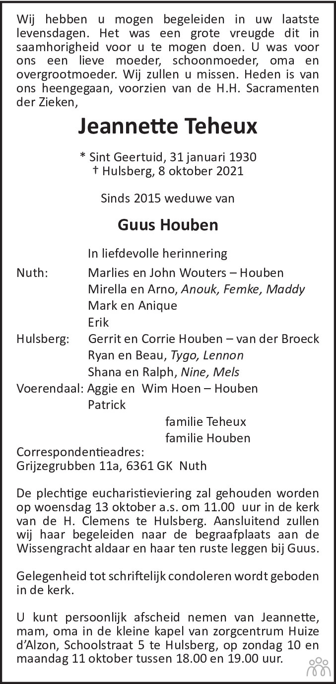 Overlijdensbericht van Jeanette Houben-Teheux in De Limburger