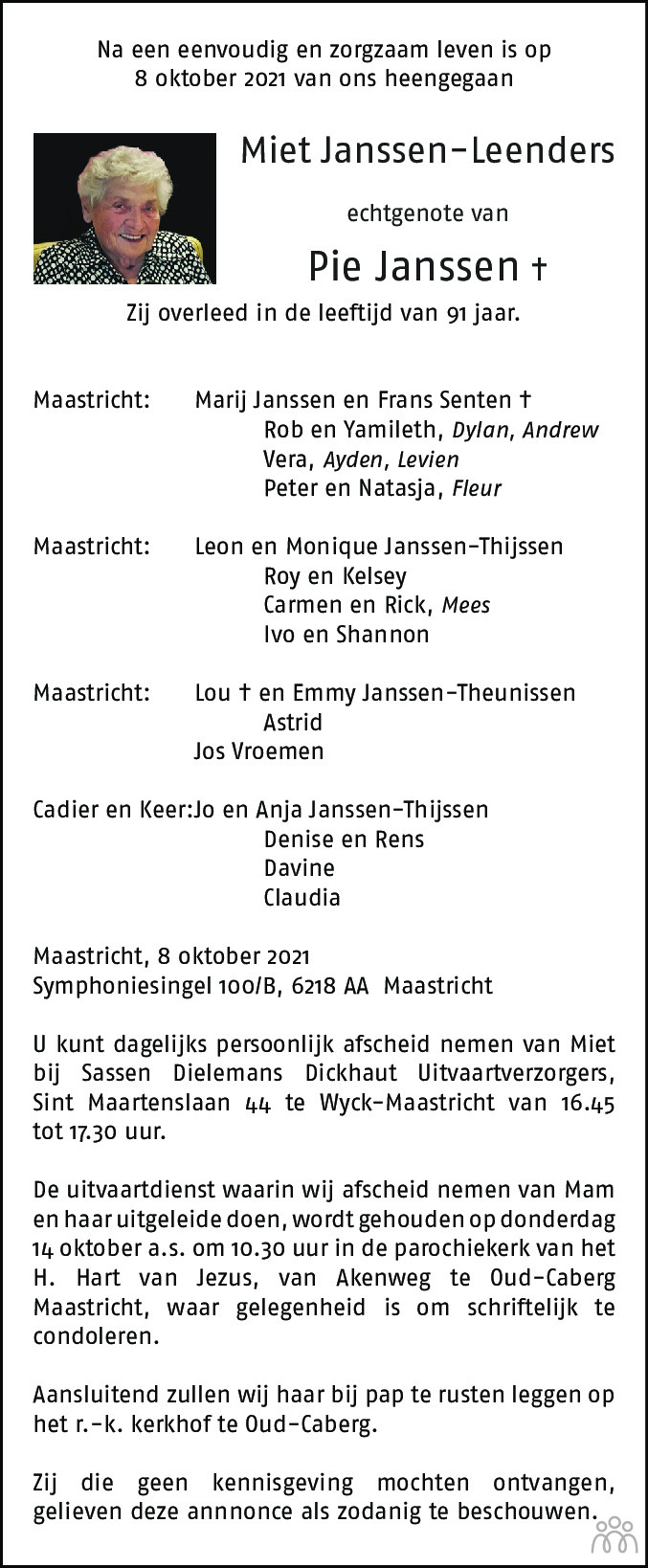 Overlijdensbericht van Miet Janssen-Leenders in De Limburger