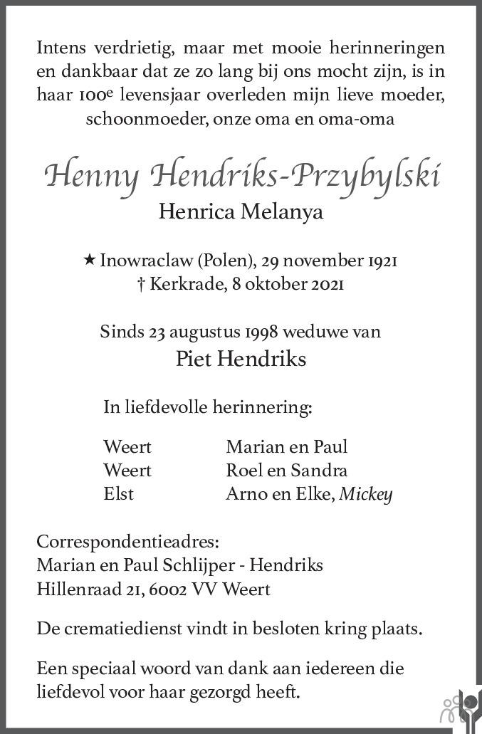 Overlijdensbericht van Henny (Henrica Melanya) Hendriks-Przybylski in De Limburger