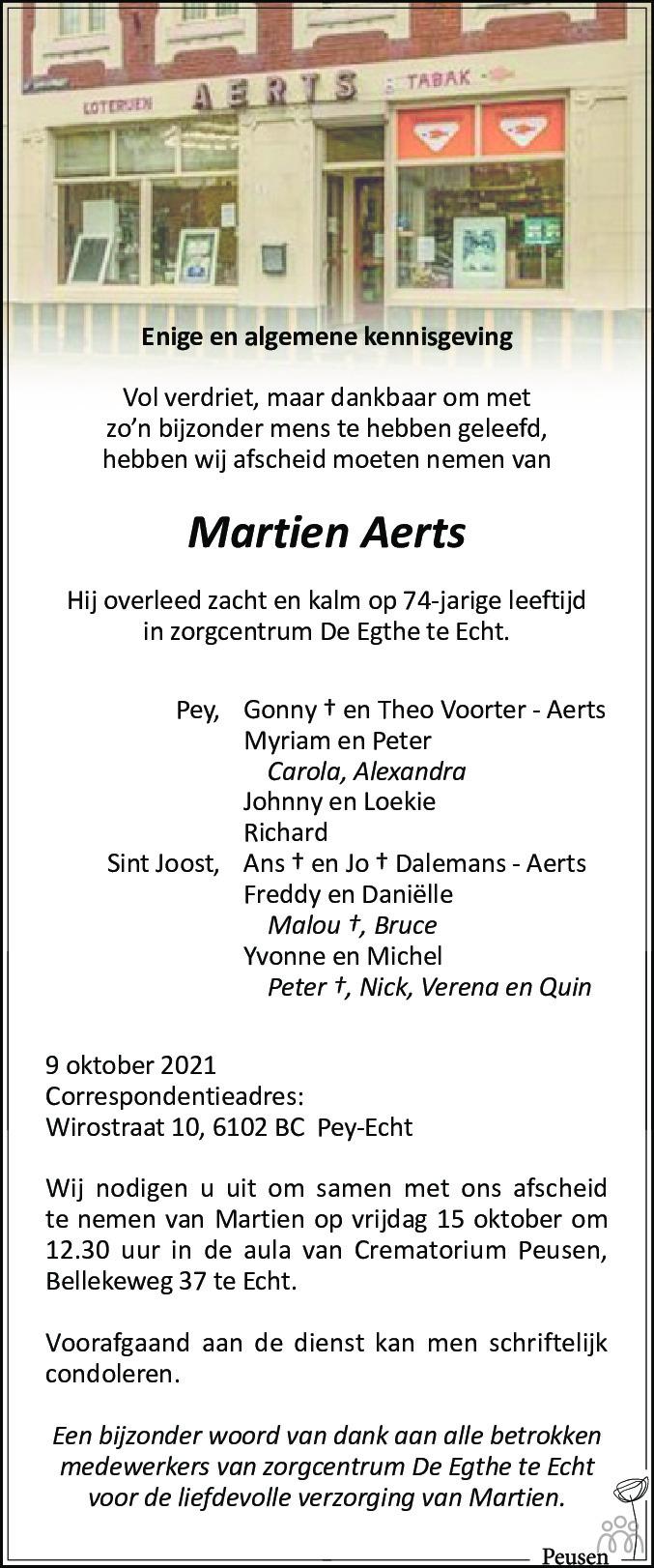 Overlijdensbericht van Martien Aerts in De Limburger
