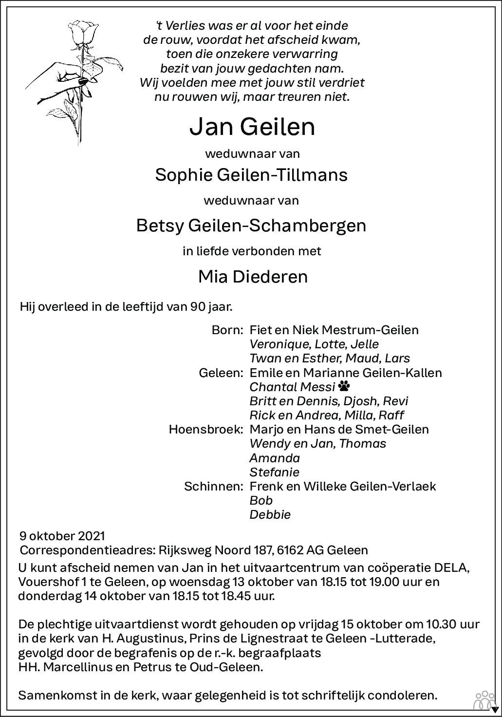 Overlijdensbericht van Jan Geilen in De Limburger