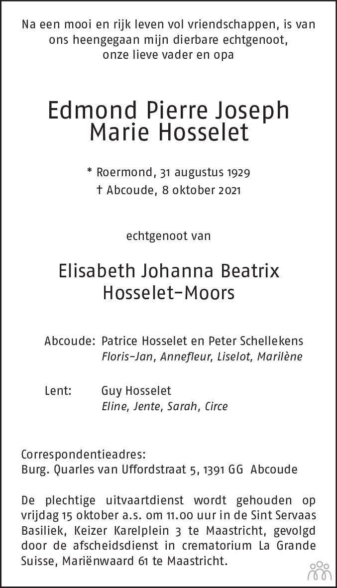 Overlijdensbericht van Edmond Pierre Joseph Marie Hosselet in De Limburger