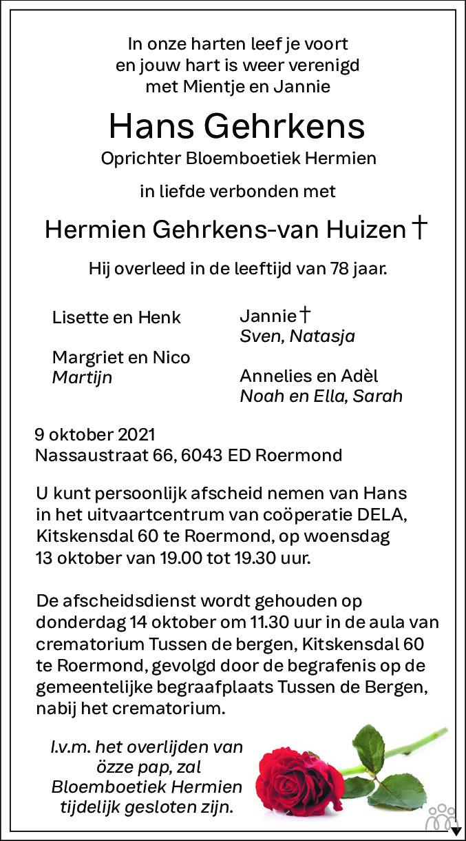 Overlijdensbericht van Hans Gehrkens in De Limburger