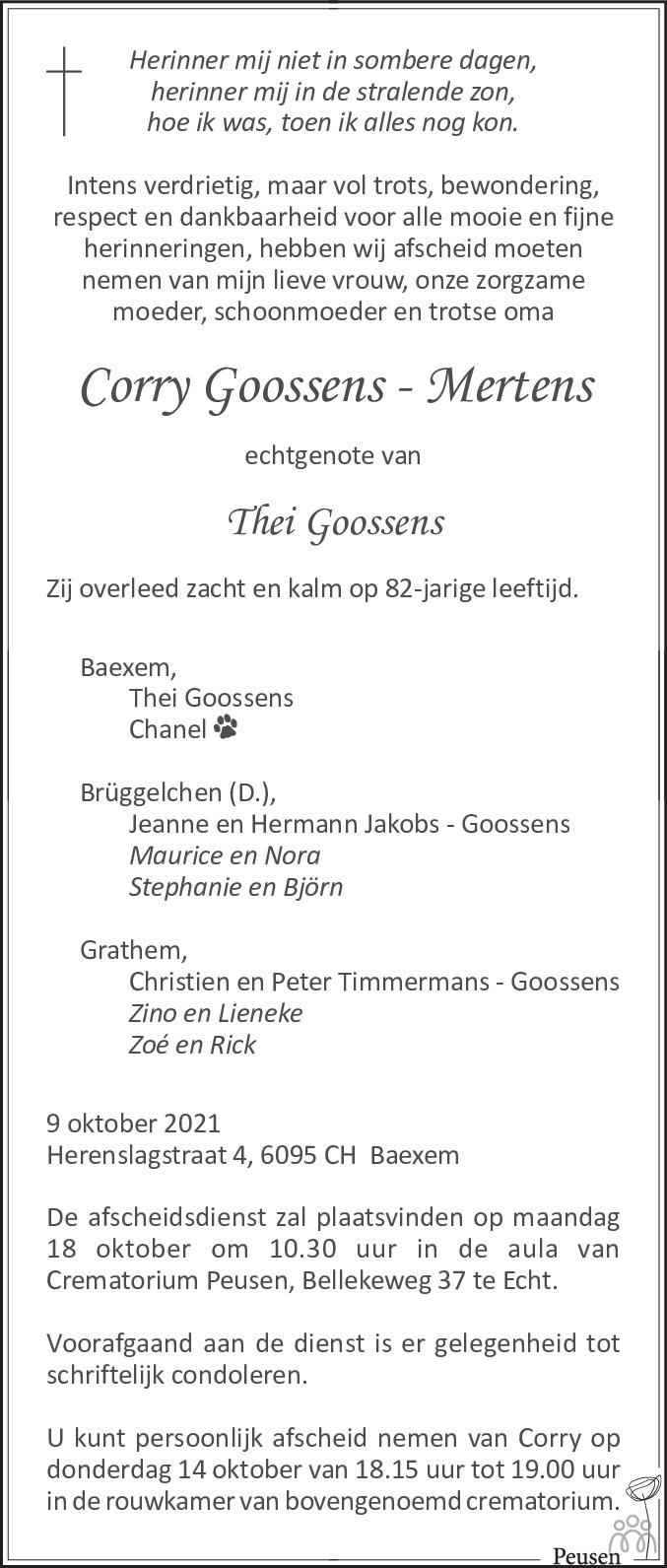 Overlijdensbericht van Corry Goossens-Mertens in De Limburger