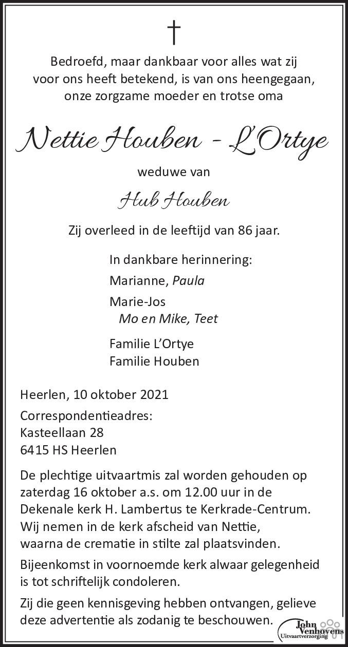 Overlijdensbericht van Nettie Houben-L'Ortye in De Limburger