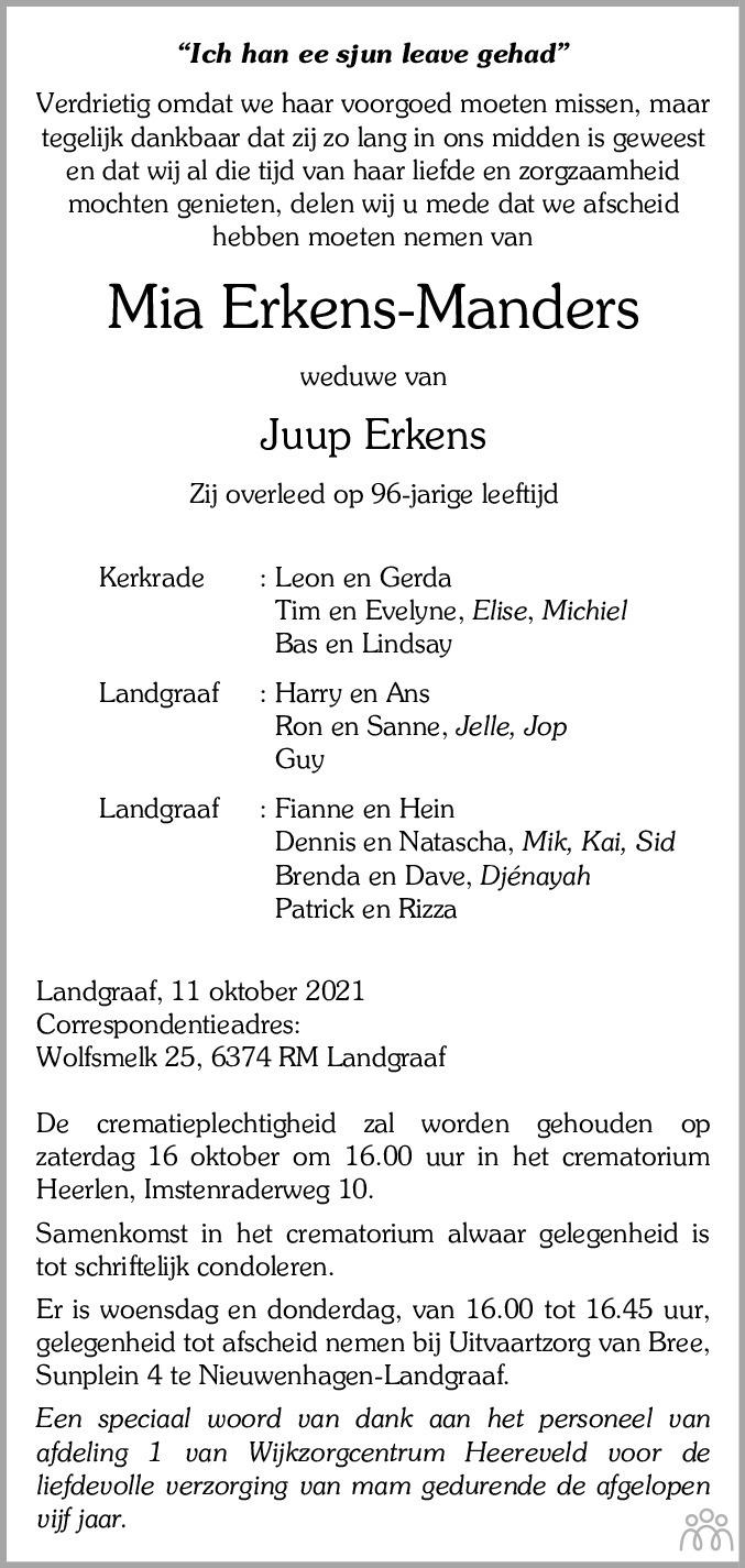 Overlijdensbericht van Mia Erkens-Manders in De Limburger