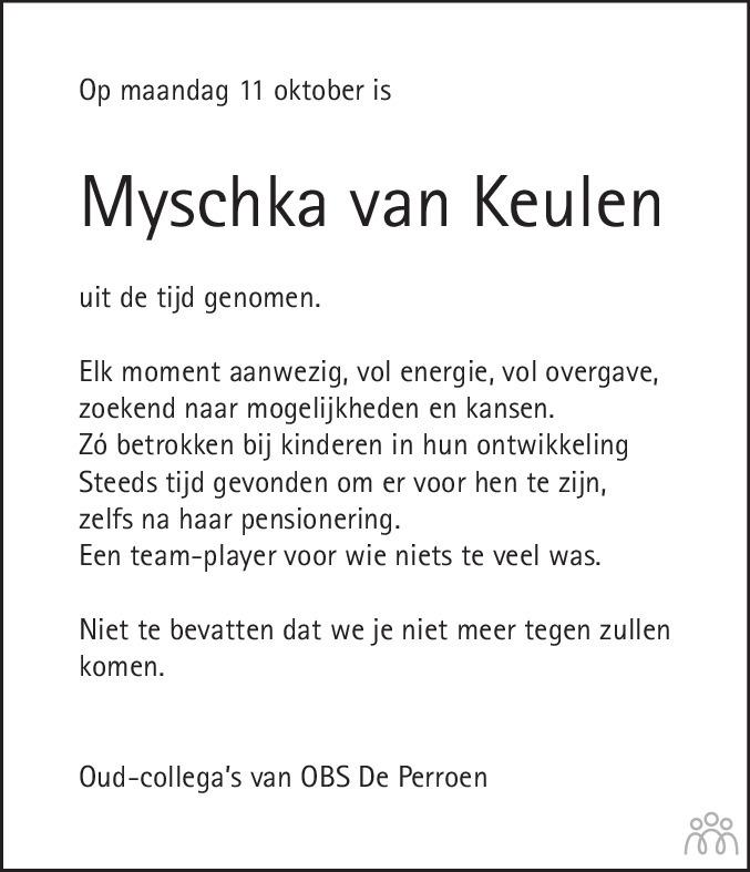 Overlijdensbericht van Myschka van Keulen in De Limburger