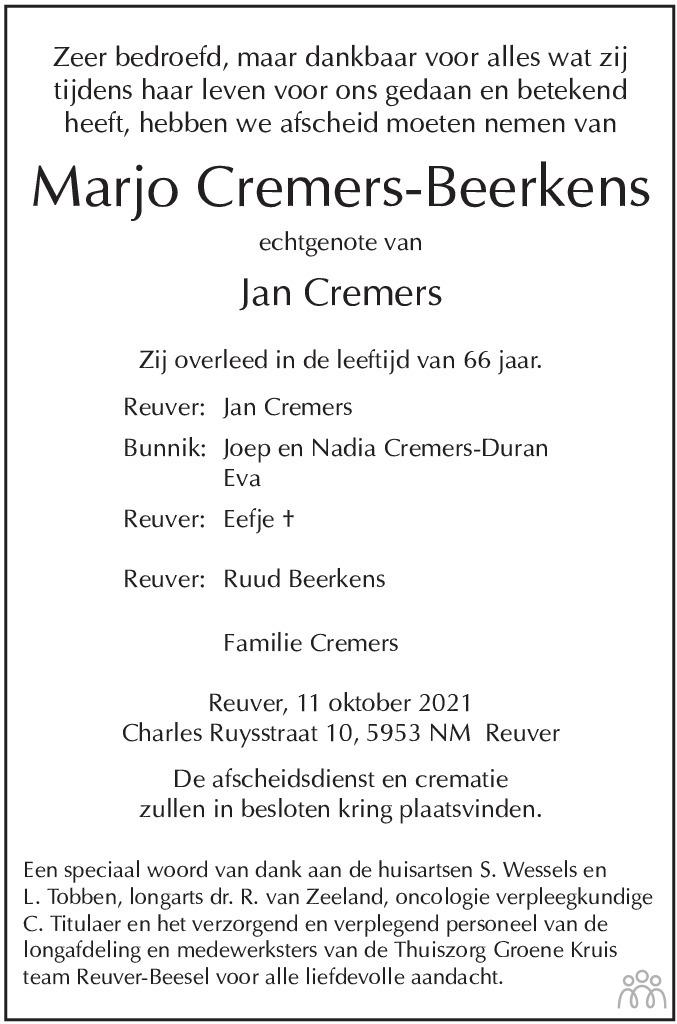 Overlijdensbericht van Marjo Cremers-Beerkens in De Limburger