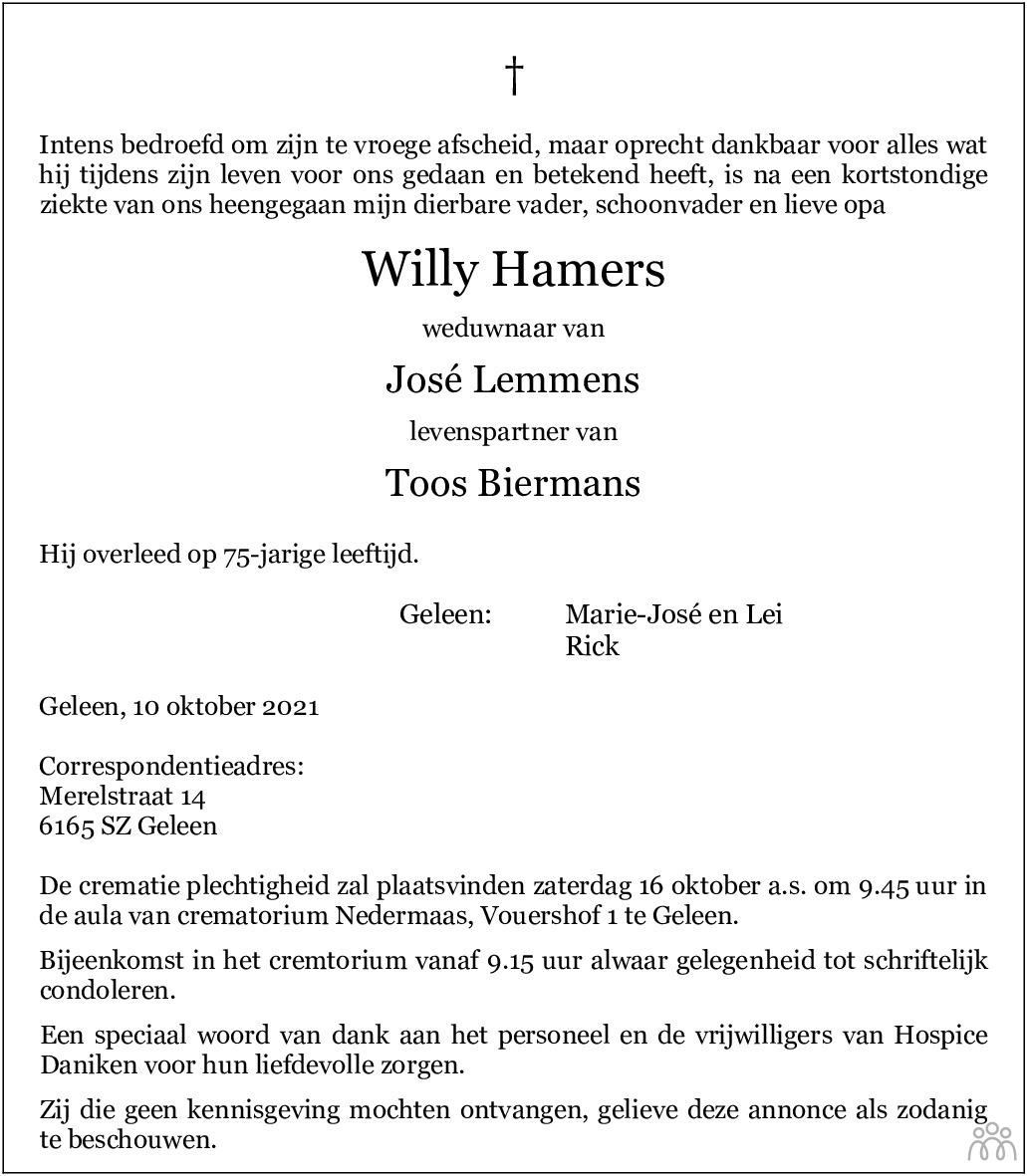 Overlijdensbericht van Willy Hamers in De Limburger