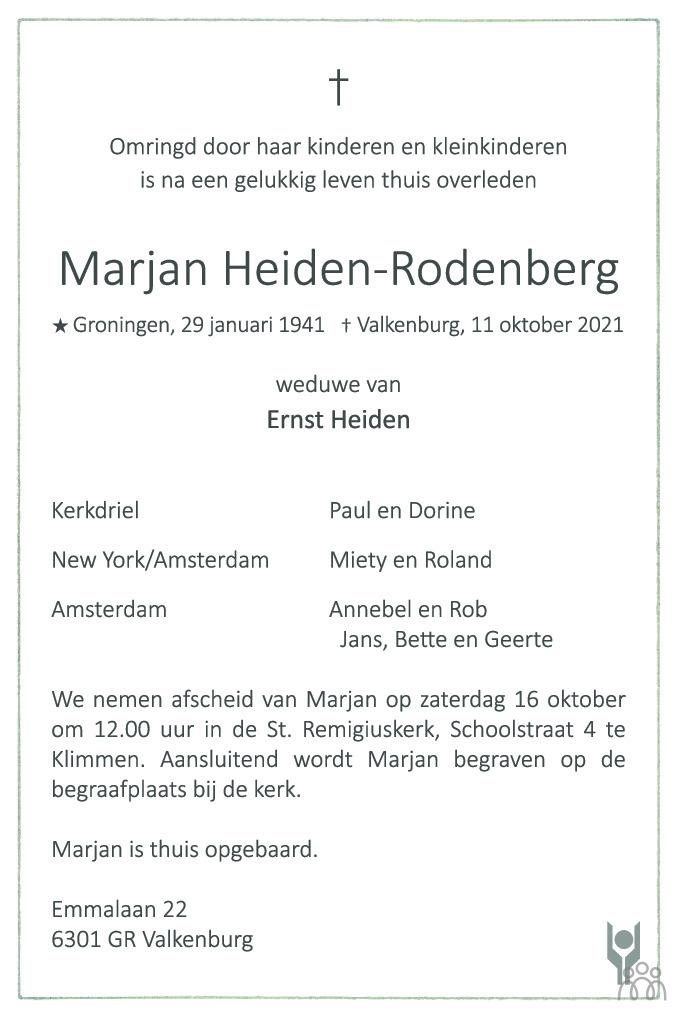 Overlijdensbericht van Marjan Heiden-Rodenburg in De Limburger
