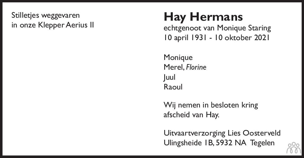 Overlijdensbericht van Hay Hermans in De Limburger