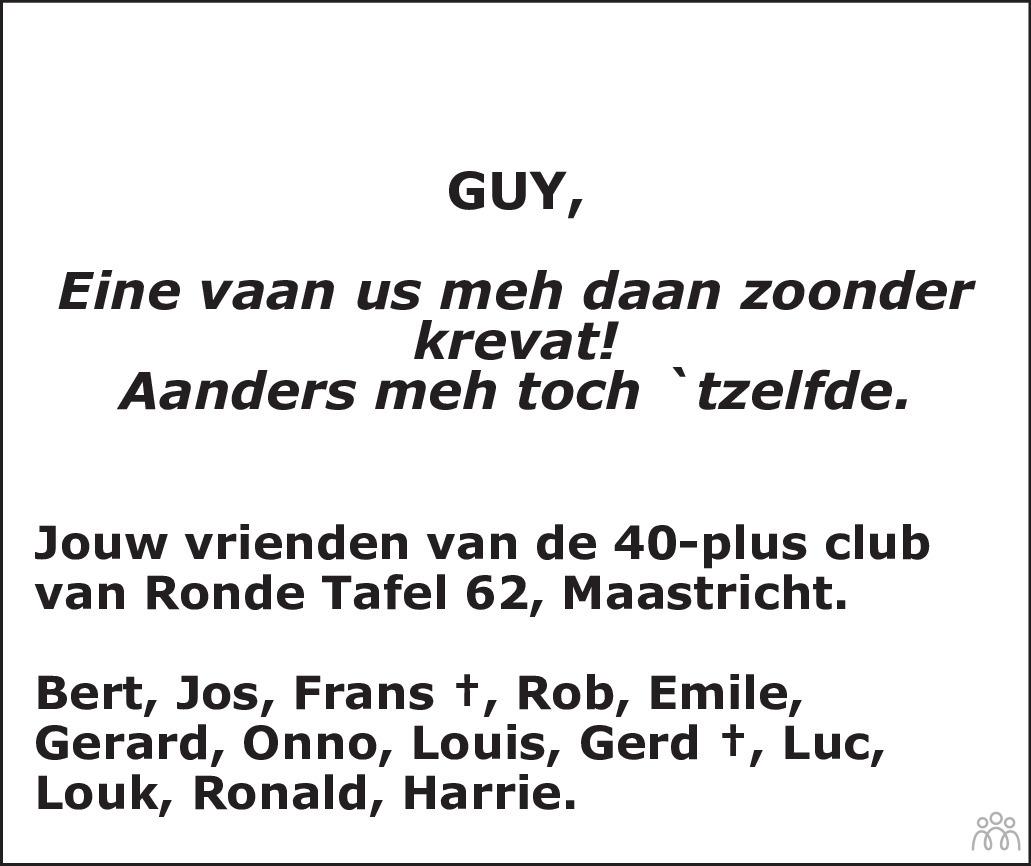 Overlijdensbericht van Guy van Grinsven in De Limburger