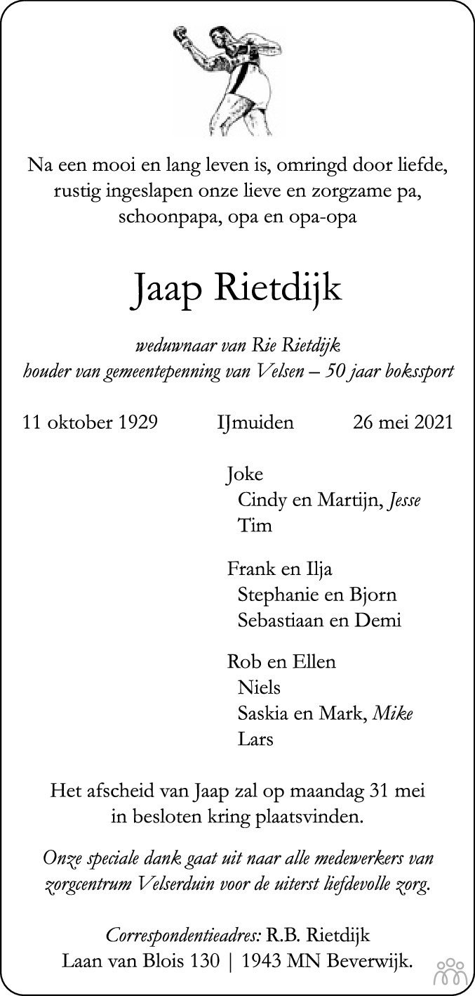 Overlijdensbericht van Jaap Rietdijk in Haarlems Dagblad Kombinatie