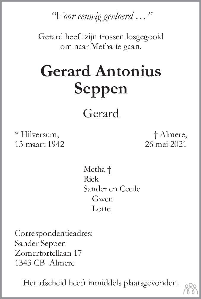 Overlijdensbericht van Gerard Antonius (Gerard) Seppen in De Gooi- en Eemlander