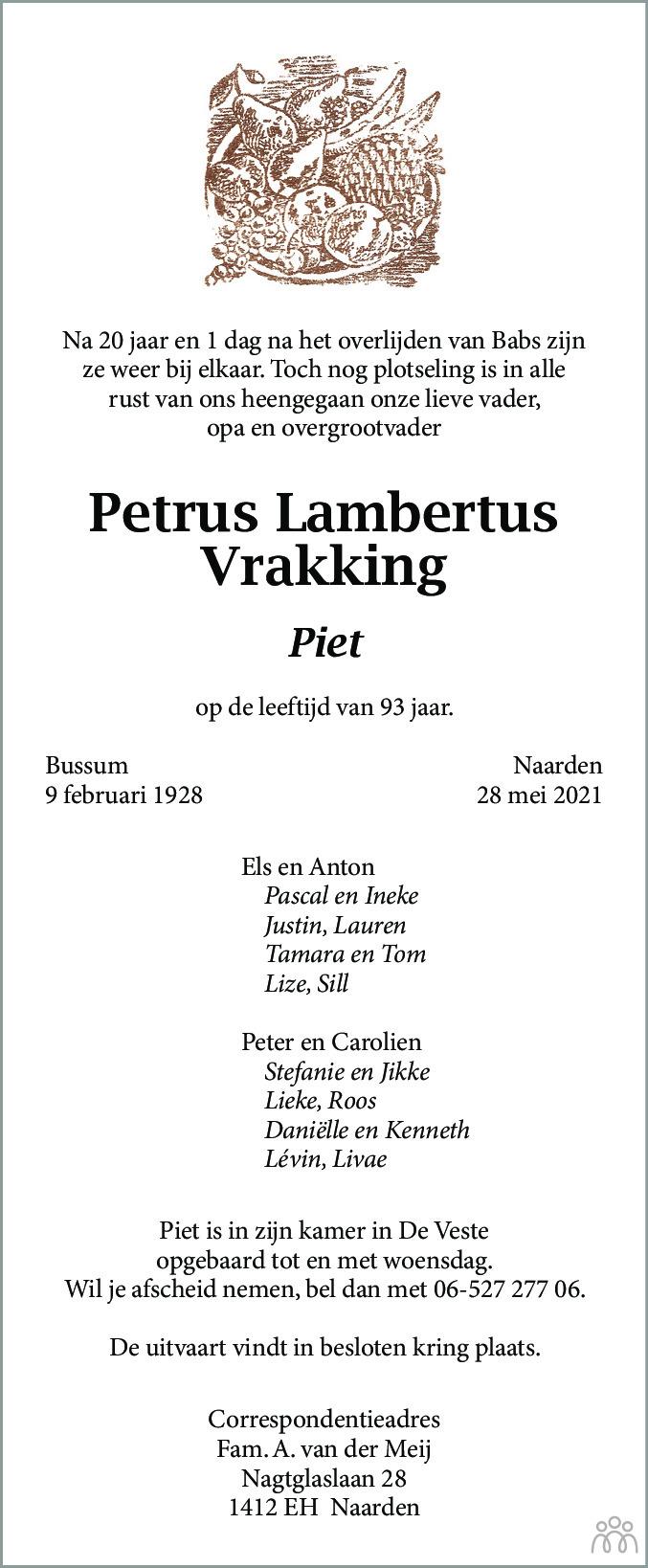 Overlijdensbericht van Petrus Lambertus (Piet) Vrakking in De Gooi- en Eemlander