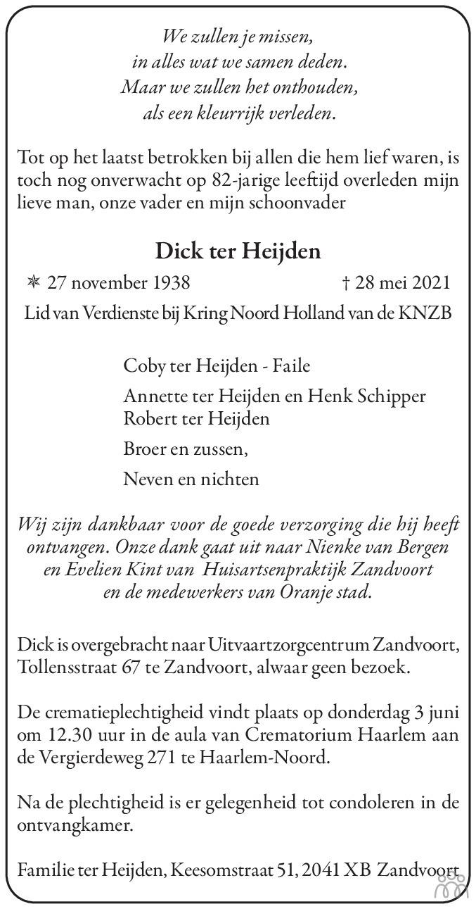 Overlijdensbericht van Dick ter Heijden in Haarlems Dagblad Kombinatie